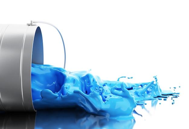 Tinta azul 3d, espirrando de lata Foto Premium