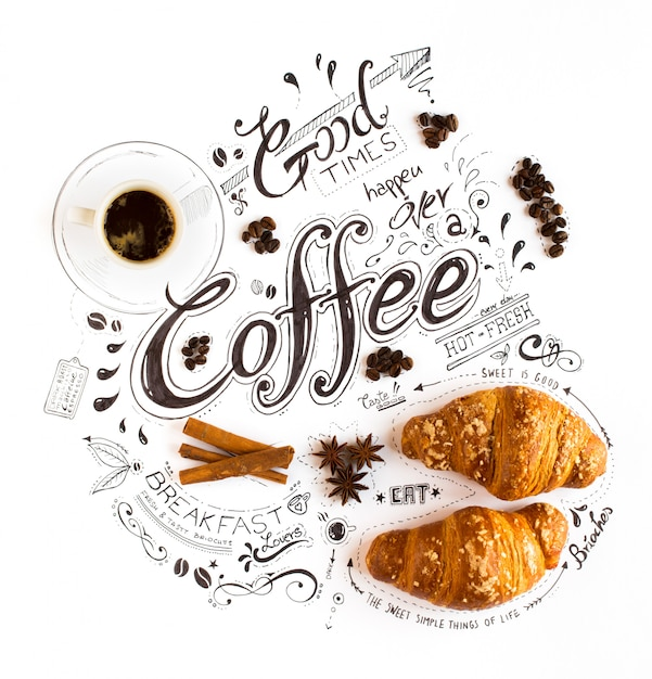 Tipografia temático tirada mão da rotulação do café com frases clássicas em uma composição do vintage. Foto Premium