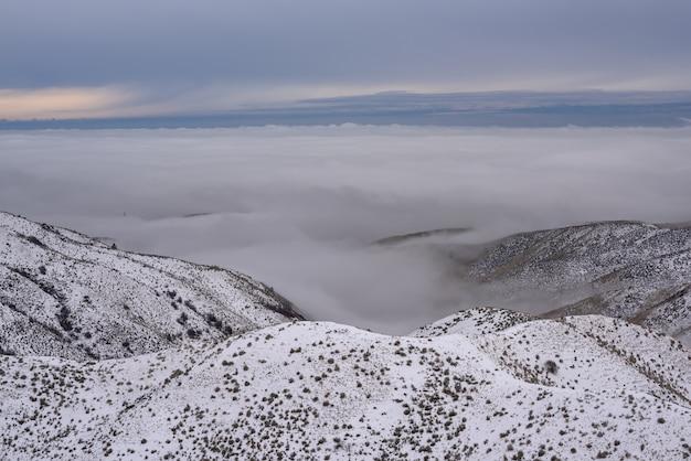 Tiro de ângulo alto das montanhas nevadas, cobertas de árvores acima das nuvens, sob um céu azul Foto gratuita