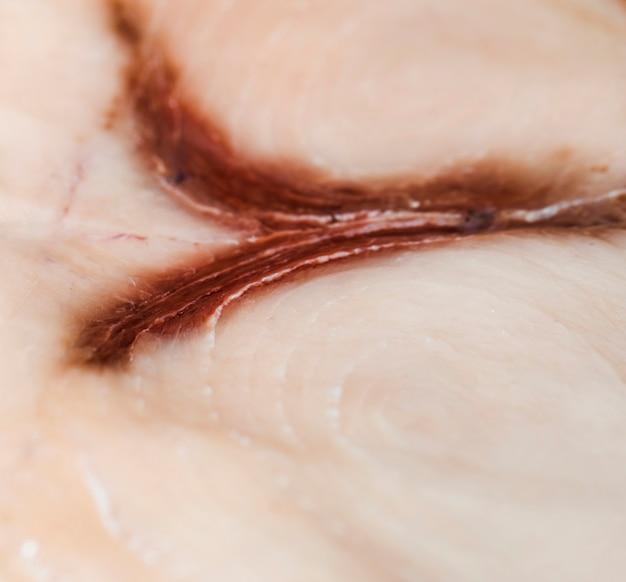 Tiro macro de carne de peixe recém-cortada Foto gratuita