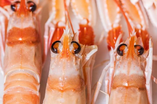 Tiro macro, de, fresco, camarões Foto gratuita