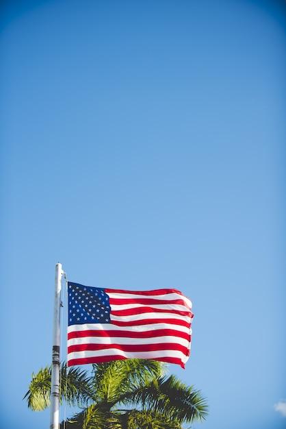 Tiro vertical da bandeira dos estados unidos em um poste com um céu azul Foto gratuita