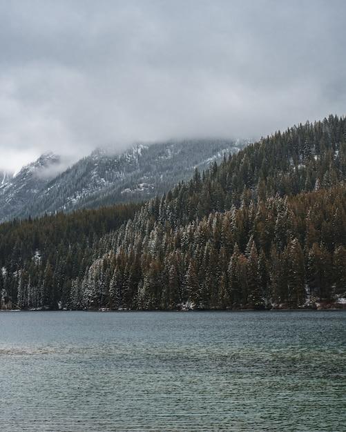 Tiro vertical de um rio no meio de um cenário montanhoso coberto de nevoeiro Foto gratuita