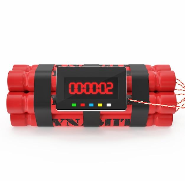 Tnt dinamite vermelho bomba com um temporizador isolado Foto Premium