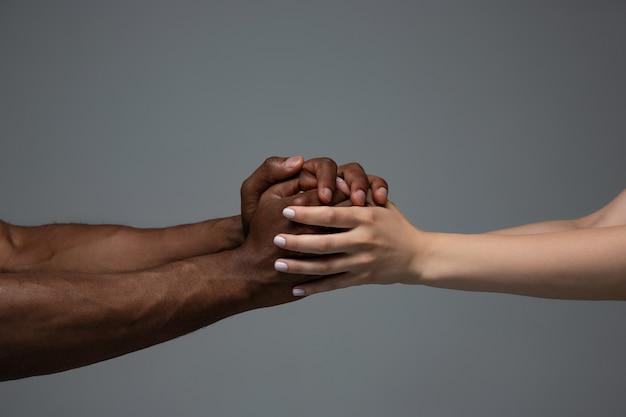 Tolerância racial. respeite a unidade social. africanas e caucasianas mãos gesticulando isoladas em cinza Foto gratuita
