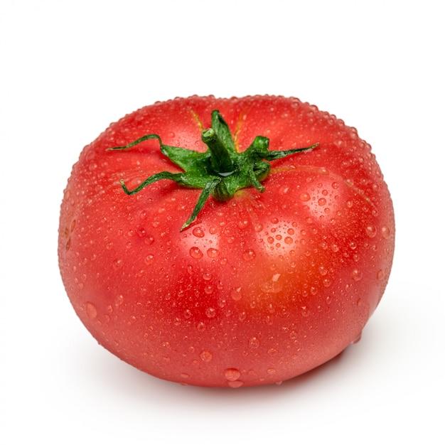 Tomate com gotas isoladas Foto Premium