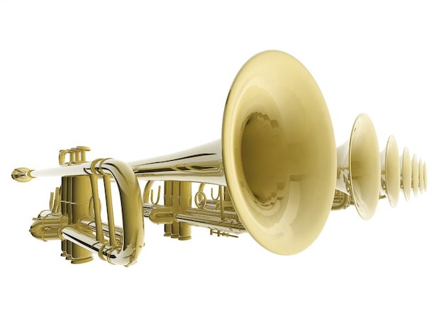 Toque 3d das trombetas Foto Premium