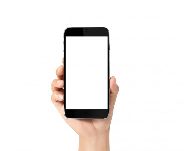 Toque o smartphone na mão Foto Premium