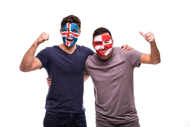 Torcedores de futebol com o rosto pintado de seleções da islândia e da croácia isolados Foto gratuita