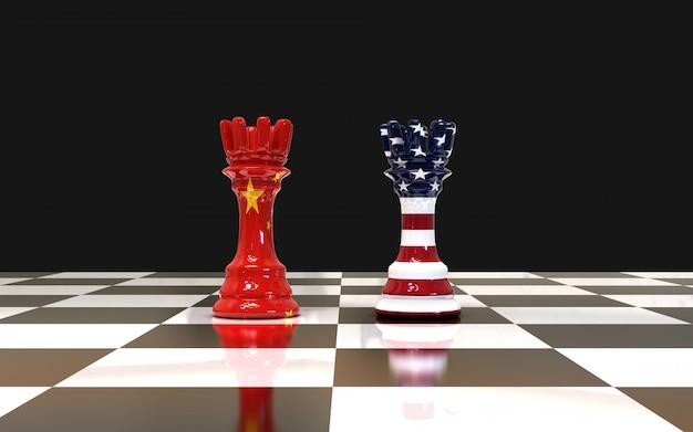 Torre de xadrez dois no tabuleiro de xadrez eua e bandeira da china Foto Premium