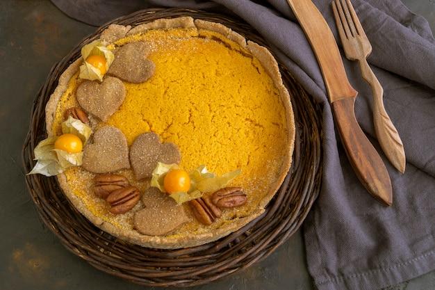 Torta de abóbora tradicional. bolos caseiros doces. Foto Premium