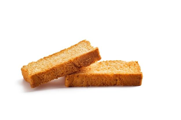 Tostas ou torradas em um fundo branco Foto Premium