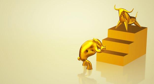 Touro do ouro da rendição 3d e índice de negócio do urso. Foto Premium