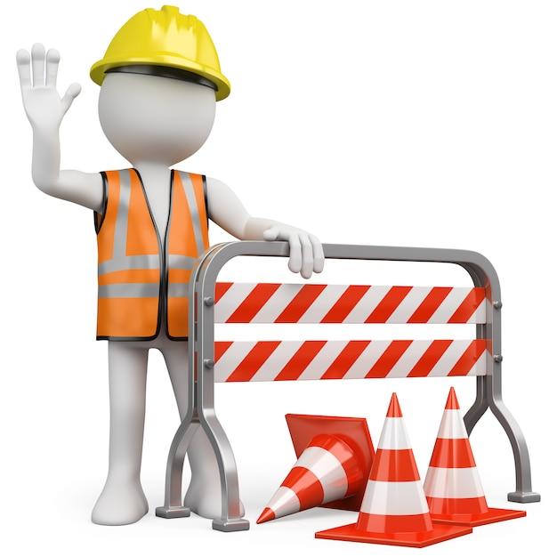 Trabalhador com um colete refletivo e capacete, apoiando-se em uma barreira de construção Foto Premium