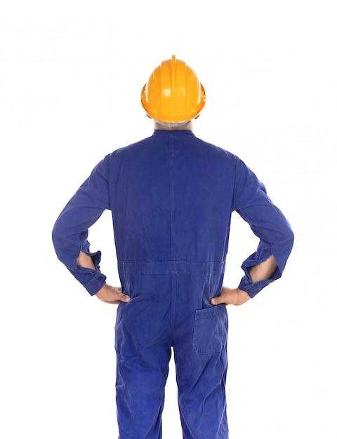 Trabalhador da construção civil com capacete amarelo Foto Premium