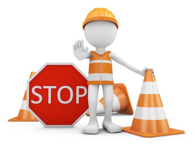 Trabalhador da estrada com sinal de capacete e tráfego com cones. Foto Premium
