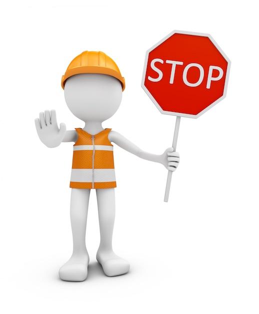 Trabalhador da estrada com sinal do capacete e de tráfego pare. Foto Premium