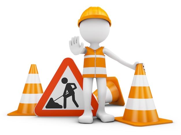 Trabalhador da estrada e sinal de tráfego com cones. renderização 3d. Foto Premium
