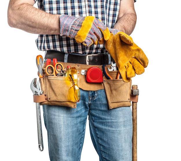 Trabalhador manual e ferramentas Foto Premium