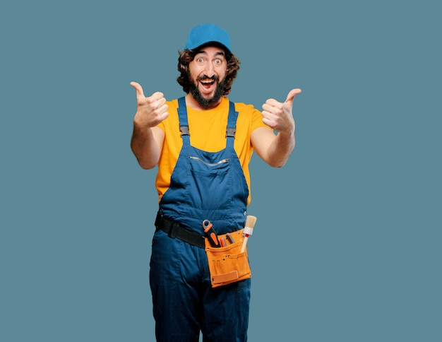 Trabalhador trabalhador manual satisfeito e orgulhoso Foto Premium