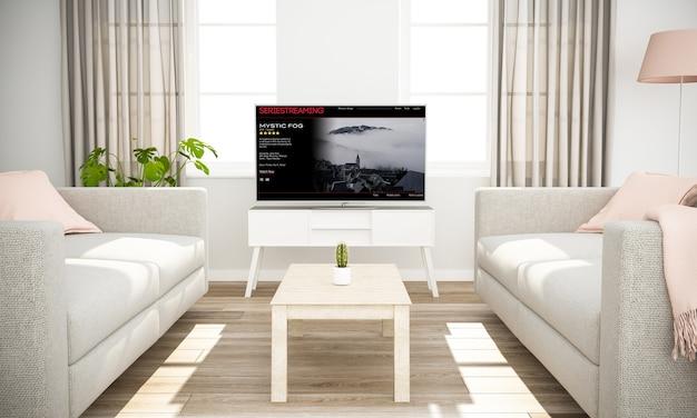 Transmissão de filmes para televisão inteligente na simulação de renderização em 3d da sala de estar Foto Premium