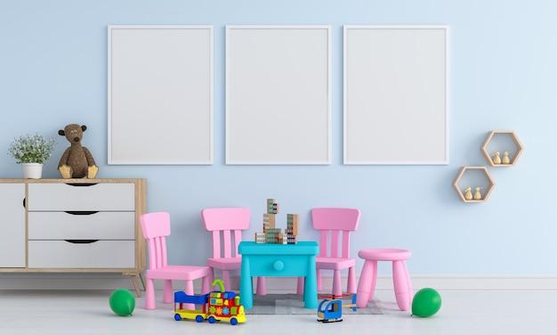 Três, em branco, frame foto, para, mockup, em, childern, sala Foto Premium