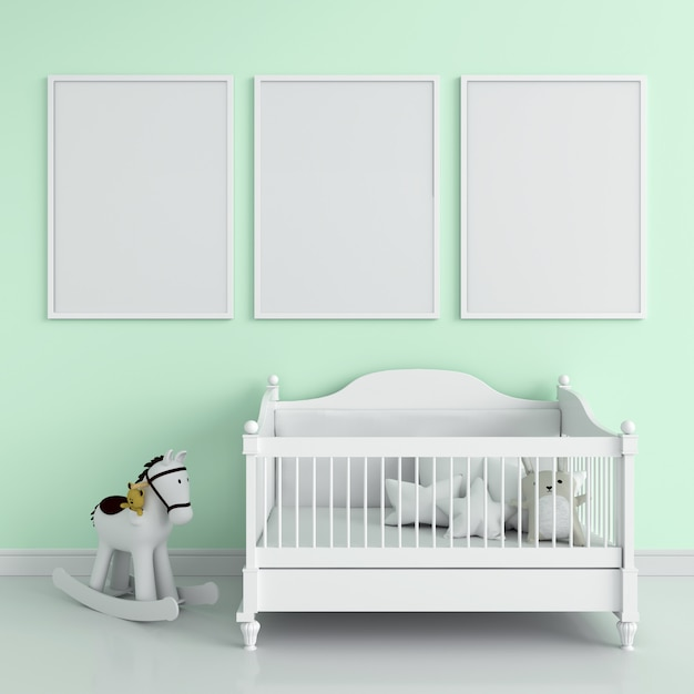 Três, em branco, frame foto Foto Premium
