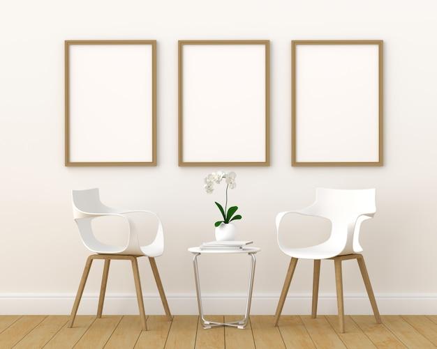 Três moldura vazia para maquete na moderna sala de estar, 3d render, ilustração 3d Foto Premium