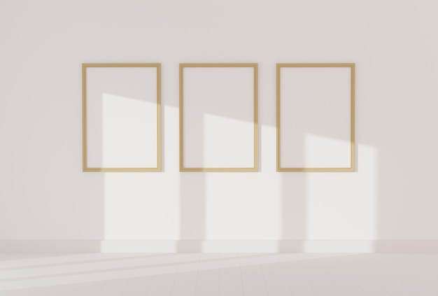 Três moldura vazia para maquete no quarto branco vazio Foto Premium