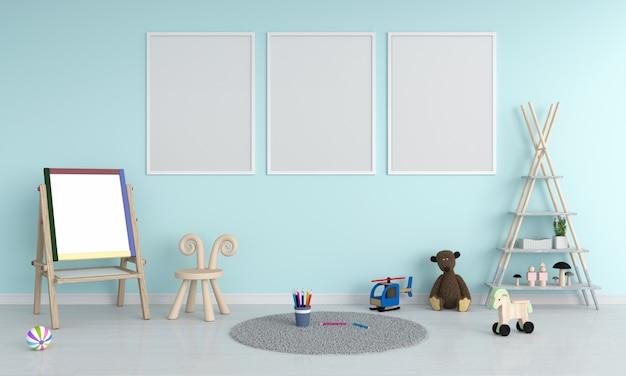 Três moldura vazia para maquete no quarto das crianças Foto Premium