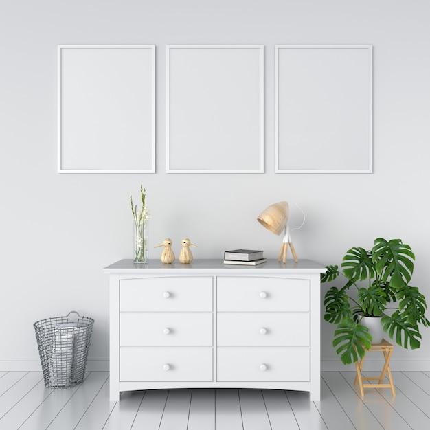 Três molduras em branco para maquete Foto Premium