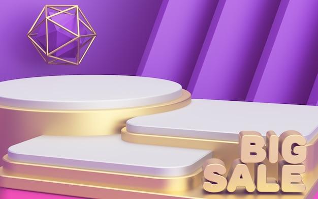 Três pódios de luxo de diferentes alturas para exibir seus produtos. grande promoção de cartaz promocional. abstrato moderno. 3d rendem. Foto Premium