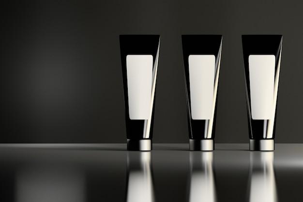 Três tubos cosméticos pretos brilhantes semelhantes com etiquetas brancas que estão na superfície brilhante reflexiva. design de embalagem de produtos de beleza. Foto Premium