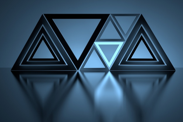 Triângulos azuis brilhantes sobre o piso reflexivo de espelho Foto Premium