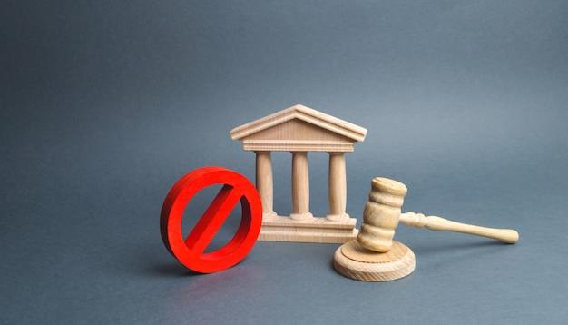 Tribunal com o martelo do juiz e sinal não. conceito de censura e produção de restrições Foto Premium