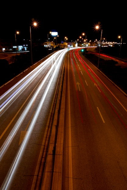 Trilhas de tráfego de luz Foto Premium