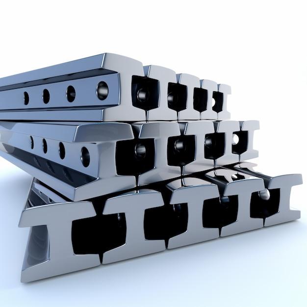 Trilhos de metal em um fundo branco. ilustração 3d Foto Premium