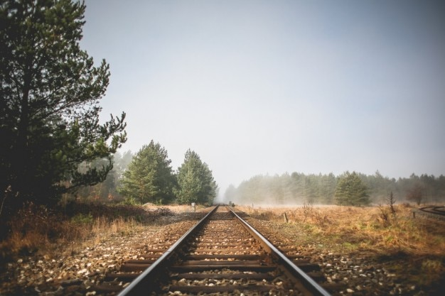 Trilhos do trem perspectiva Foto gratuita