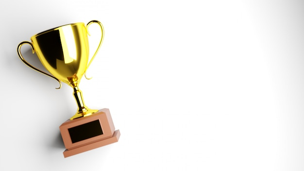 Troféu de ouro sobre fundo branco Foto Premium