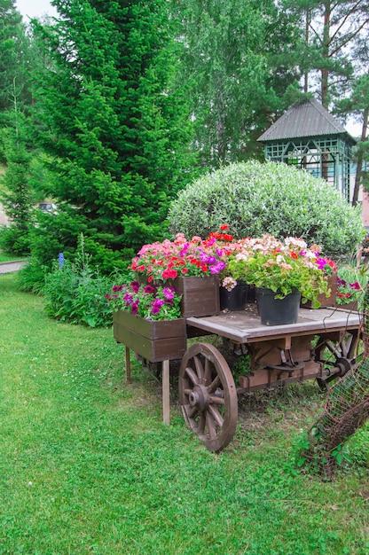 Trole velho de madeira vintage com vasos de flores e caixas Foto Premium