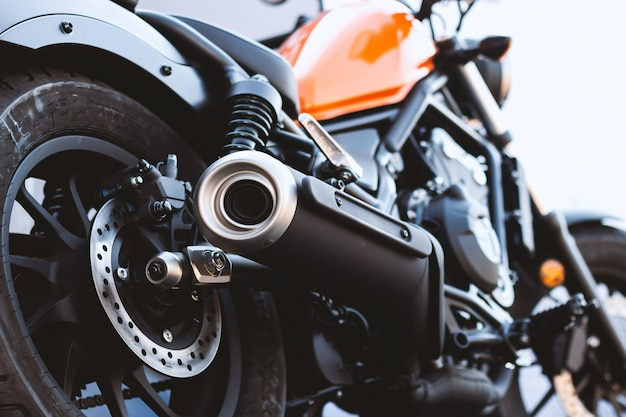 Tubo de escape da motocicleta closeup Foto Premium
