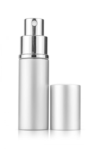 Tubo de spray prateado para maquete de design de produto cosmético Foto Premium