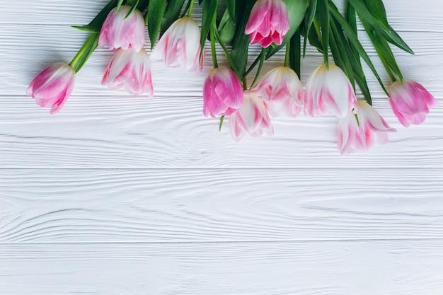 tulipas cor de rosa em um fundo de madeira branco vista superior e dupla plana baixar fotos. Black Bedroom Furniture Sets. Home Design Ideas