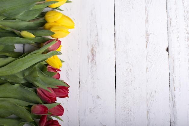 Tulipas em pranchas de madeira brancas Foto Premium