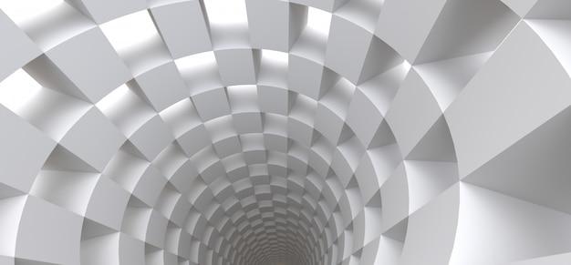 Túnel branco longo como pano de fundo abstrato para seu projeto. ilustração 3d. Foto Premium