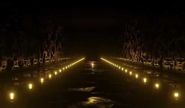 Túnel de ficção científica 3d abstrato com luz amarela. ilustração 3d. Foto Premium