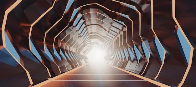 Túnel iluminado futuro do espaço do sumário do corredor da rendição 3d. Foto Premium