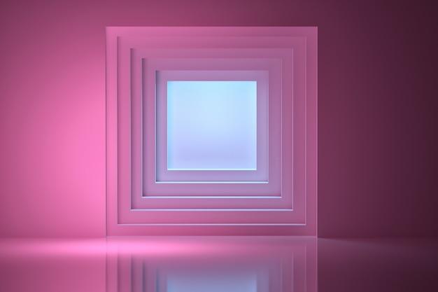 Túnel iluminado por luz azul Foto Premium