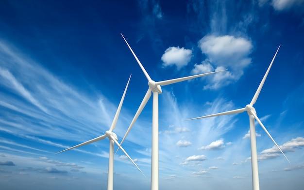 Turbinas de gerador de vento no céu Foto Premium