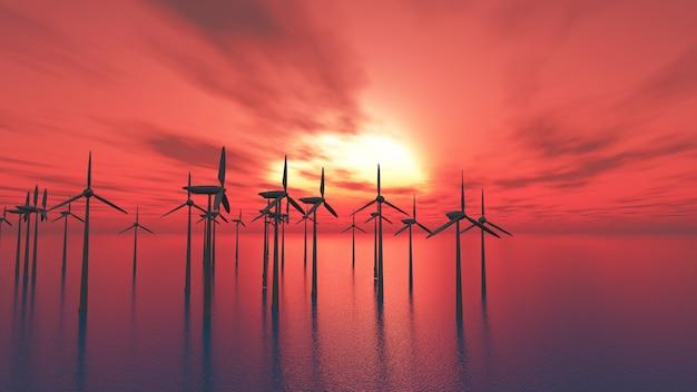 Turbinas eólicas 3d no mar contra um céu do por do sol Foto gratuita